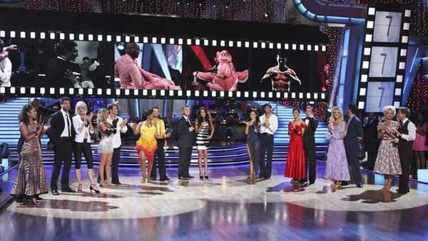 The remaining eight couples gather on the dance floor on 'Dancing With the Stars,' Monday, April 19, 2010.