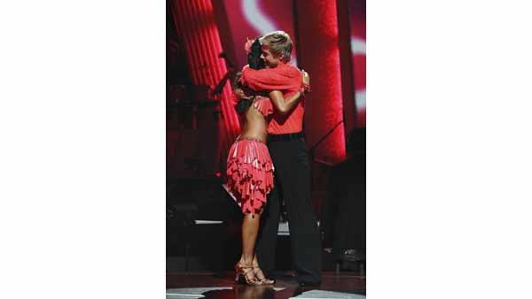 Singer Nicole Scherzinger and partner Derek Hough react to being safe on 'Dancing With the Stars' Tuesday, April 27, 2010.
