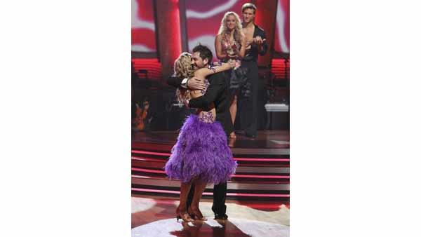 Reporter Erin Andrews and partner Maksim Chmerkovskiy react to being safe on 'Dancing With the Stars' Tuesday, April 27, 2010.
