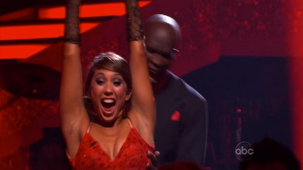 NFL star Chad Ochocinco and partner Cheryl Burke react to being safe on 'Dancing With the Stars' Tuesday, April 27, 2010.