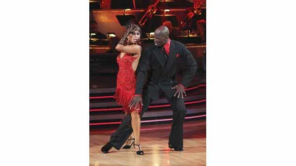 Chad Ochocinco and Cheryl Burke entertained the audience with an encore performance of their Argentine Tango on 'Dancing With the Stars' Tuesday, April 27, 2010.