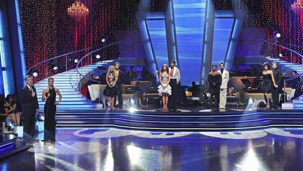 Evan Lysacek, Niecy Nash and Jake Pavelka await their fate on 'Dancing With the Stars' Tuesday, April 27, 2010.