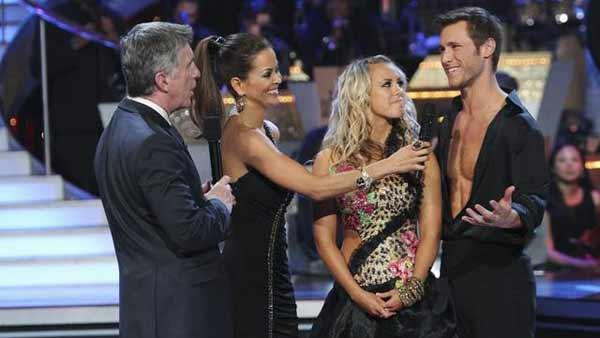 'Bachelor' Jake Pavelka and partner Chelsie Hightower react to being eliminated from 'Dancing With the Stars' on Tuesday, April 27, 2010.