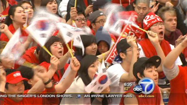 World Cup fans crowd Koreatown in L.A.