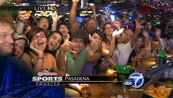 Lakers fans celebrate victory at local bar
