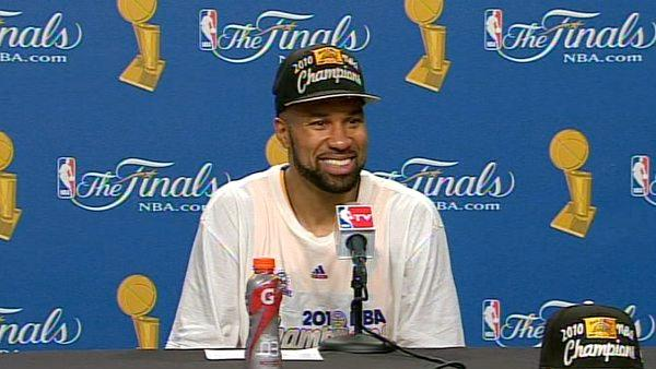 Derek Fisher talks NBA Finals in press room