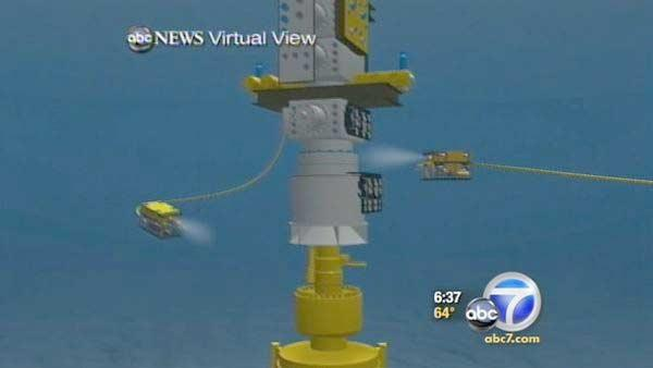 Robots start work to remove cap from oil leak