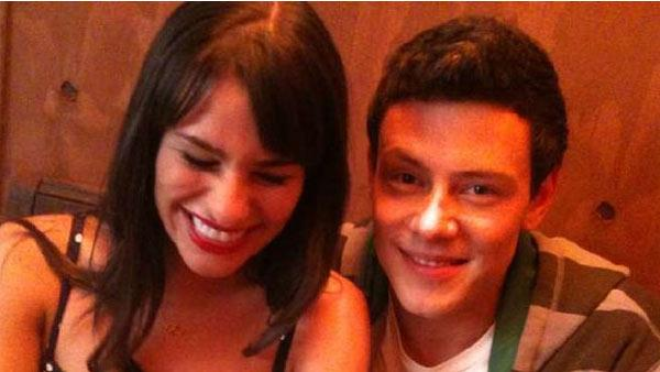 Lea Michele tweeted this photo of herself with actor Cory Monteith on the set of 'Glee' on Aug. 19, 2010.