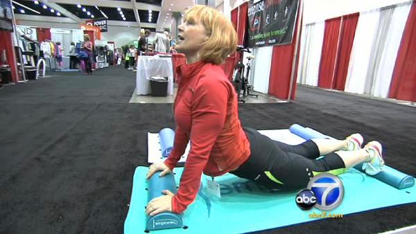 Gin Miller, who invented step aerobics in 1986, presented the Moga Mat, which helps those needing props or support to feel safe on a yoga mat.