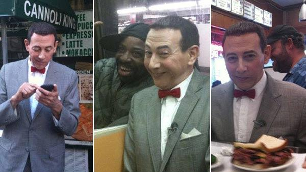 Pee-wee Herman in Littly Italy, on a subway and at Katz Deli in Ne York City on Oct. 7, 2010.