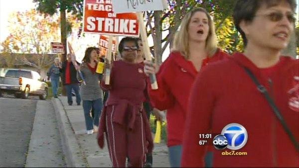La Habra teachers walk out to protest cuts