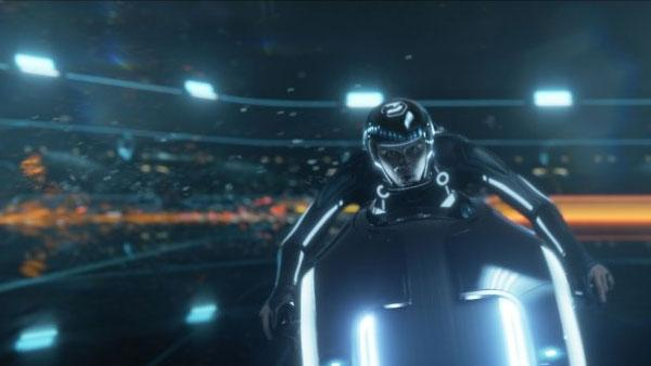 A production still from the 2010 film TRON: Legacy featuring Garret Hedlund on a light cycle. - Provided courtesy of Walt Disney Pictures