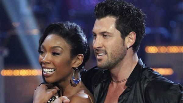 Brandy and Maksim Chmerkovskiy perform on Dancing With the Stars, Monday, Nov. 8, 2010. - Provided courtesy of ABC / Adam Larkey