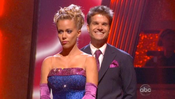 Kendra Wilkinson and her partner Louis van Amstel await possible elimination. The couple received 19 out of 30 from the judges for their Quickstep on week 2 of 'Dancing With The Stars' on Monday, March 28, 2011.