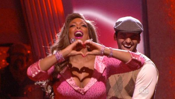 Wendy Williams and her partner Tony Dovolani react to being safe from elimination. The couple received 17 out of 30 from the judges for their Quickstep on week 2 of 'Dancing With The Stars' on Monday, March 28, 2011.