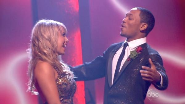 Romeo and his partner Chelsie Hightower react to being safe from elimination. The couple received 23 out of 30 from the judges for their Quickstep on week 2 of 'Dancing With The Stars' on Monday, March 28, 2011.