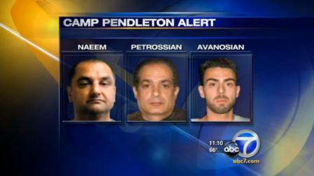 A security alert was issued at Camp Pendleton after three Middle-Eastern men drove in under suspicious circumstances.