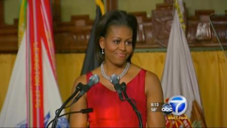 First lady Michelle Obama visited Southern California on Monday June 13, 2011, starting with a panel discussion in Beverly Hills.