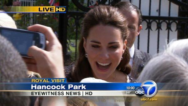Kate, also known as Catherine, Duchess of Cambridge, is talking with fans outside the British Consul-General's residence in Hancock Park Sunday July 10, 2011.