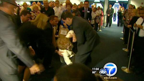Nancy Reagan OK after slip at Reagan library