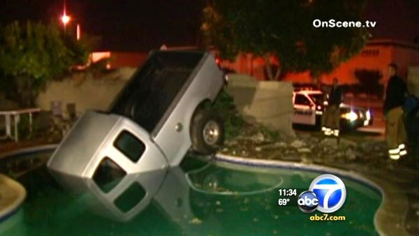 Suspected drunk driver crashes into pool