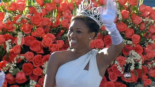 Rose Queen Drew Washington waves to the crowd on Orange Grove Boulevard during the 123rd annual Rose Parade in Pasadena Jan. 2, 2012.
