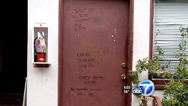 Racist graffiti on off-campus apartment door