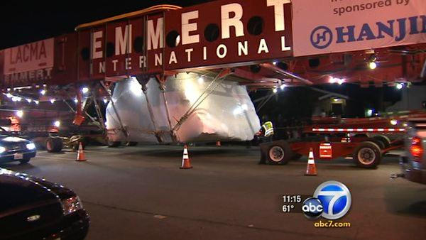 Levitated Mass rock departs for LACMA