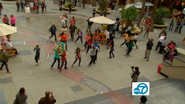Eye on L.A. joined Dance Mob Nation to flash mob the Hollywood & Highland Center, surprising a very happy birthday girl.