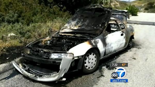 Body discovered inside burned car in tujunga abc7 com