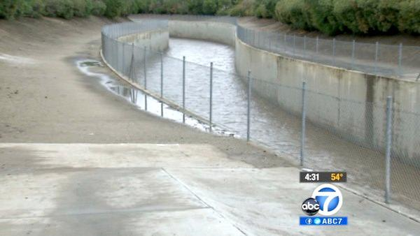 The Los Angeles River reached up to 10 feet after the heavy rainfall in the San Fernando Valley on Friday, April 13, 2012.