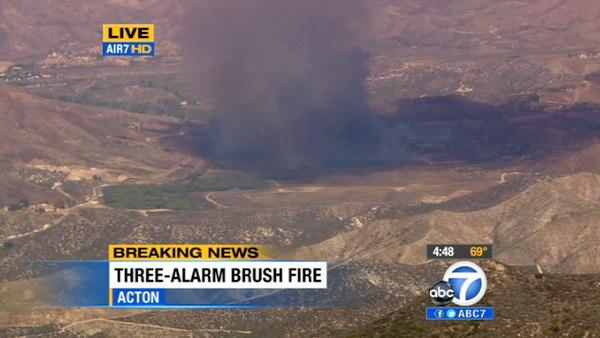 A brush fire erupted in Acton ne
