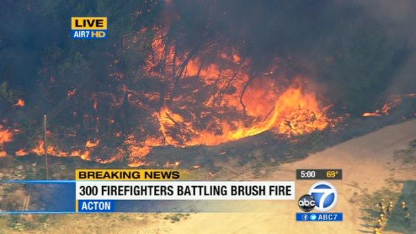 A brush fire erupted in Acto