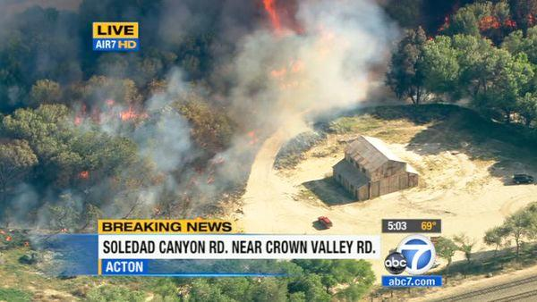 A brush fire erupted in Acton near Soledad Canyon and Cro