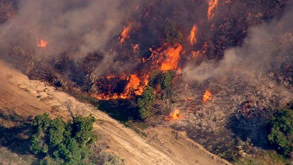 A brush fire erupted in Acton near Soledad Canyon and Crown Valley