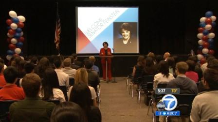 Sen. Dianne Feinstein is seen speaking to students at Oxford Academy in Cypress on Thursday, May 31, 2012.