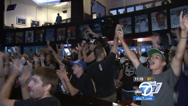 LA Kings fans are seen celebrating the team's Stanley Cup victory at a local bar Monday, June 11, 2012. The LA Kings won the Stanley Cup for the first time in franchise history with a 6-1 win over the New Jersey Devils on Monday night at Staples Center.