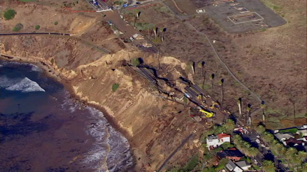 A portion of Paseo Del Mar in San Pedro is seen following a major landslide that shut the road in November 2011.