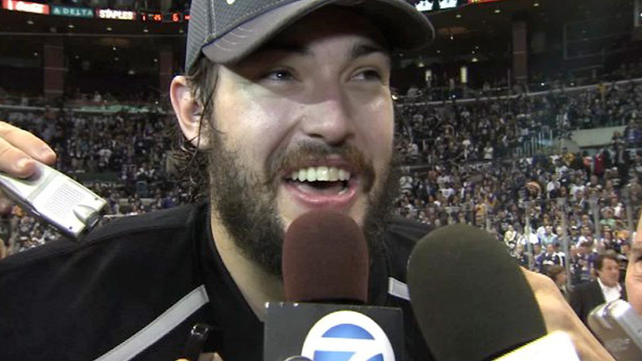 Drew Doughty is seen following the Los Angeles Kings first Stanley Cup win in franchise history on Monday, June 11, 2012.