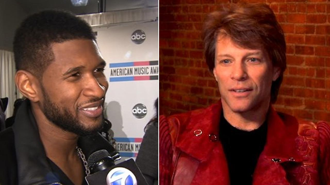 Left: Usher speaks backstage at the 2010 American Music Awards in Los Angeles. Right: Jon Bon Jovi talks about New Years Eve in an interview provided by the studio.