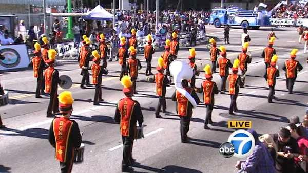 The Dominguez Hills High School marching band is seen during the 28th annual Kingdom Day Parade in South Los Angeles on Saturday, Jan. 19, 2013.