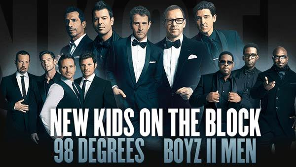 NKOTB, 98 Degrees and Boyz II Men appear in a promotional photo for their 2013 The Package tour. - Provided courtesy of nkotb.com