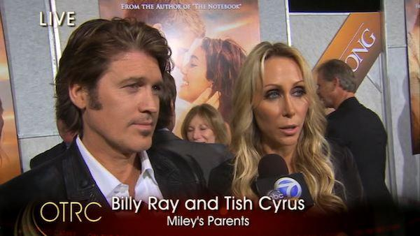 Billy Ray and Tish Cyrus arrive at the red carpet premiere of their daughter Miley's new film 'The Last Song' in Hollywood, CA.