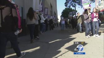 With contract negotiations deadlocked, thousands of Los Angeles County social workers went on strike Thursday, Dec. 5, 2013.