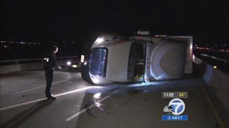 The strong winds caused major problems for drivers on Monday, knocking over a big rig in the Cajon Pass.