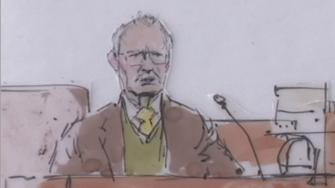 Dr. Steven Karch is seen in a courtroom sketch during the Kelly Thomas trial on Dec. 18, 2013.