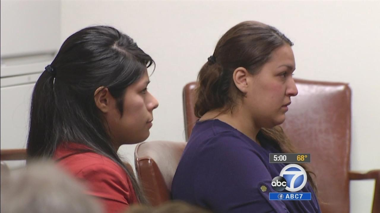 Vanesa Zavala (L) and Candace Brito (R) are seen at a preliminary hearing on Feb. 10, 2014.
