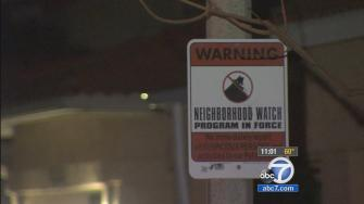A neighborhood watch sign is posted in a Moorpark neighborhood where police say two burglary suspects sexually assaulted a female resident on April 16, 2014.