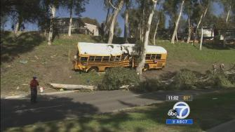 A school bus carrying 11 students crashed in Anaheim Hills, leaving the driver and two students seriously injured Thursday, April 24, 2014.