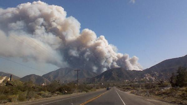 Fire buning near Lytle Creek